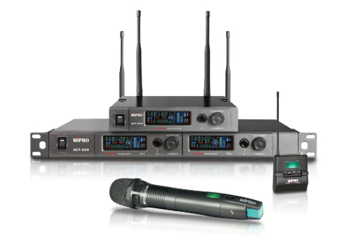 MIPRO ACT-818 and ACT-828 radio microphone receivers with ACT-80H and ACT-80T wireless microphone transmitters