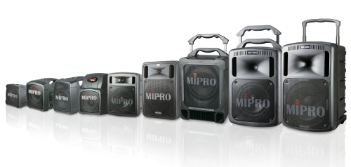 MIPRO MA-101, MA-202, MA-303, MA-505, MA-707, MA-708, MA-808 portable PA systems