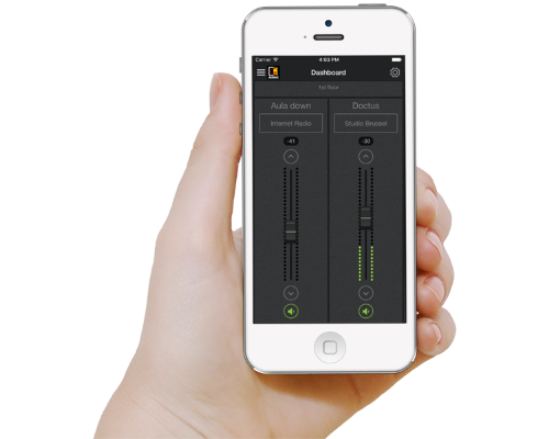 iPhone with AUDAC Touch Audio Control App
